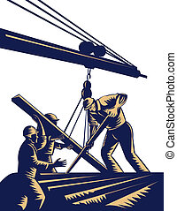 Construction workers hoisting timber on boom done in woodcut style.