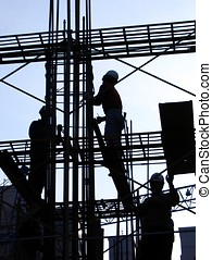 Construction Workers in Outline - -- high up on the...