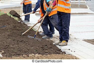 Construction workers leveling ground beside sidewalk
