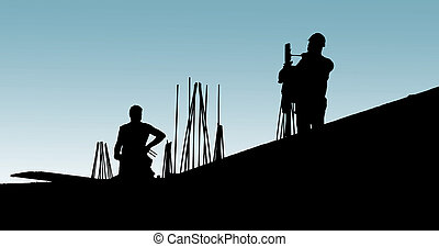 Construction workers put formwork and armature