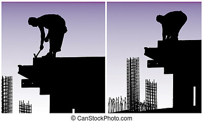Construction workers put formwork
