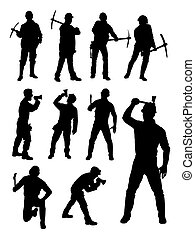 Construction workers silhouette 01.