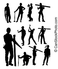 Construction workers silhouette 02.