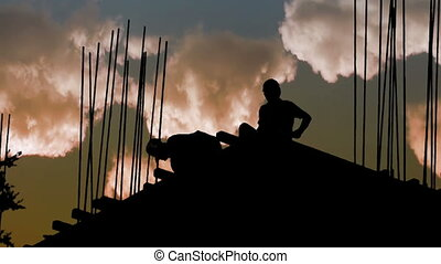Construction Workers Silhouette Industry Site