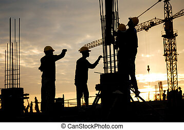 construction workers - silhouette of construction worker on ...