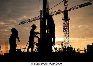 construction workers - silhouette of constructionworker on ...