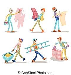 Construction workers, vector funny cartoon set