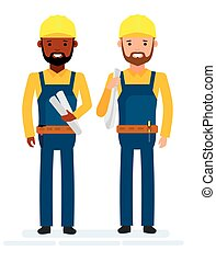 Construction workers. White background.