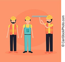 construction workers with blueprint