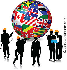 Construction Workers with Flags Globe.Vector