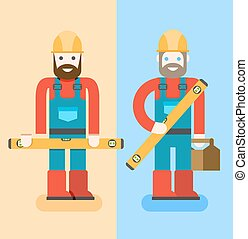 Construction workers with repair tools. Building specialists vector illustration. Cartoon repairmen with smile. Good builders in uniform. Service man.