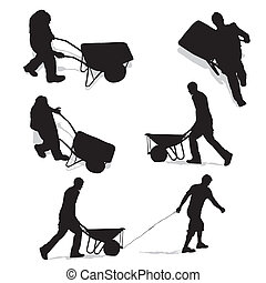 construction workers with wheelbarrow, vector illustration