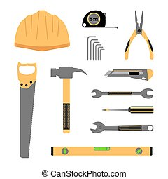 Construction working tools icon set: helmet, roulette, hammer, wrench, pliers, level measure, saw building, roulette measure, allen key. Vector illustration on white background.