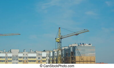 Construction works - Builders constructing apartment...