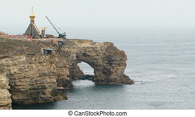 Construction Works on Picturesque Rocks In Black Sea