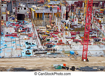 Construction yard - Aerial view of an industrial ...