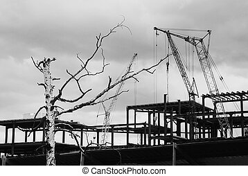 construction yard with crane against the sky