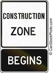 Regulatory sign in Canada - Construction zone begins. This sign is used in Ontario.