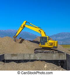 Construction zone in Eagle Mountain Utah blue sky