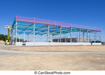 constructional steelwork - building site with constructional...