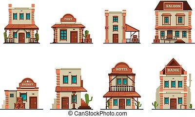 constructions, bâtiments., ouest, collection, vecteur, occidental, architectural, sauvage, bar