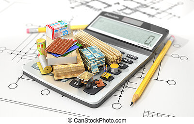 Constructions materials on calculator. Concept of...