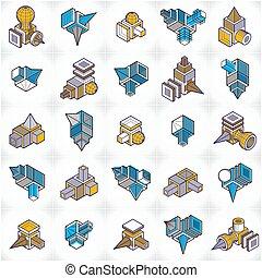 constructions, set., collection, ingénierie, vectors, résumé