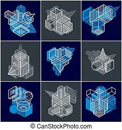 constructions, set., collection, résumé, ingénierie, différent, vectors
