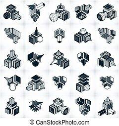 constructions, set., vectors, résumé, ingénierie, collection, différent