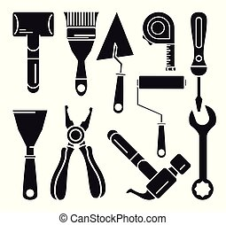 constructions tools icon set