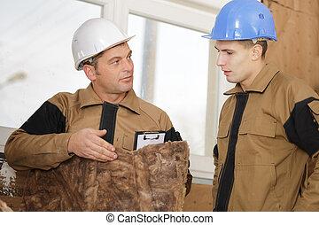 constructor, actuación, aprendiz, un, absorbente, emparedado, panel, para, pared