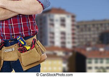 constructor, al aire libre, herramientas, plano de fondo,...