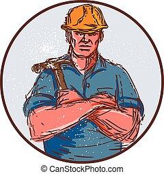 constructor, armamentos cruzaron, círculo, martillo, dibujo