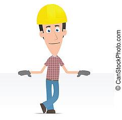 constructor, blanco, lugar, estantes, luego