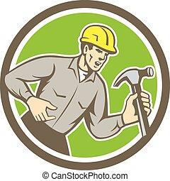 constructor, carpintero, gritos, retro, círculo, martillo