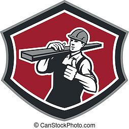 constructor, carpintero, llevar, madera, pulgares arriba,...