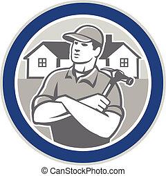 constructor, carpintero, martillo, casas, círculo, retro