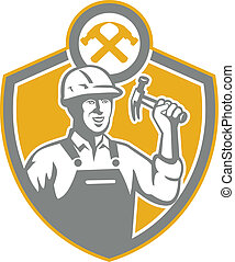 constructor, carpintero, martillo, protector, retro
