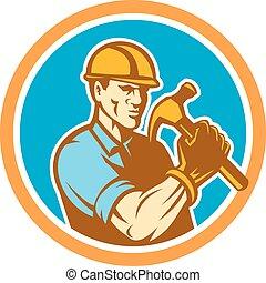 constructor, carpintero, tenencia, martillo, círculo, retro