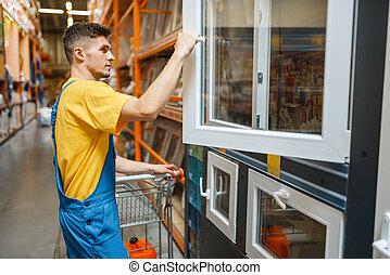 Constructor choosing windows in hardware store