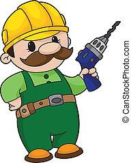 constructor, con, un, taladro