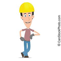 constructor, estantes, al lado de, un, blanco, lugar