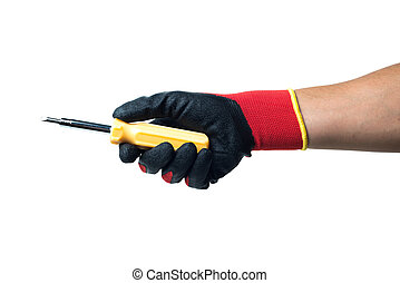 Constructor hand in red rubber gloves holding screwdriver. isolated on white backround