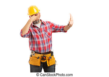 Constructor holding nose as bad smell concept