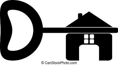 constructor, hou, llave de la casa, aislado, logotipo, fondo., blanco