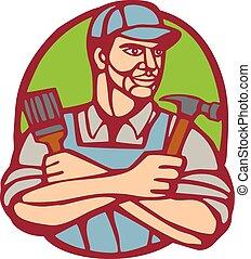 constructor, linocut, martillo, carpintero, brocha