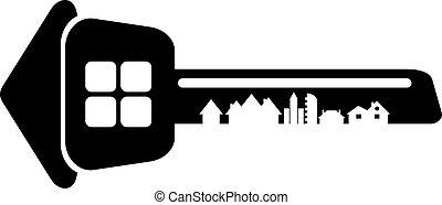 constructor, llave de la casa, fondo., aislado, logotipo, sil, blanco