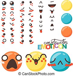 Constructor of cute lovely kawaii emoticon.