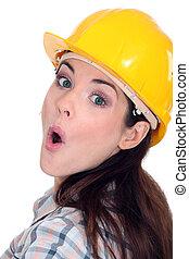 constructor, sorprendido, hembra