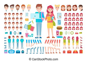 Constructor Students Cartoon Isolated Illustration -...
